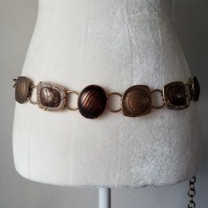 Chicos Bronze Chain Belt Textured Medallions
